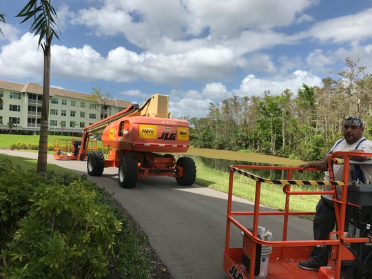 Equipment for repairs and clean up at Vi at Bentley Village after Hurricane Irma swept into Southwest Florida on Sept. 10, 2017.
