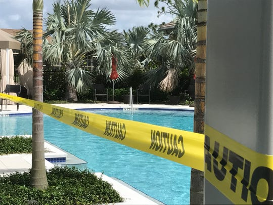 The lap pool at Vi at Bentley Village is closed because of canopy damage after Hurricane Irma hit on Sept. 10, 2017.