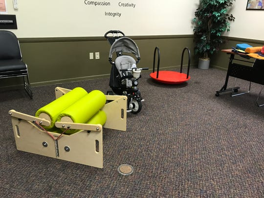 These are examples of professional therapy equipment families can borrow at no cost from Capable Kids.