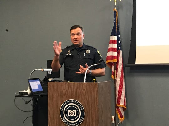 Corpus Christi Senior Police Officer Matt Weischwill gives a presentation at the Protecting Houses of Worship Law Enforcement Interfaith Security Summit on Thursday, Oct. 5, 2017, at Del Mar College's Economic Development Center.
