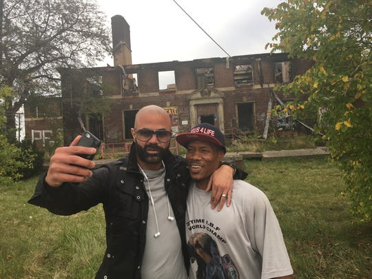 """L to R: Former professional boxer Tarick Salmaci of Dearborn and professional boxer Cornelius """"K9"""" Bundrage of Detroit who both trained in the old Kronk Gym came to see the charred ruins in Detroit on Sunday, October 8, 2017."""