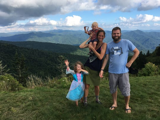 Asheville hiker Jennifer Pharr Davis, husband Brew Davis and children Charley, 4 and Gus, 1, are hiking the Mountains-to-Sea Trail from the Smokies to the Outer Banks.