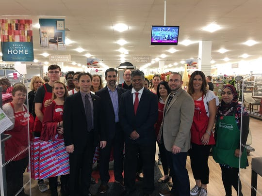 Mayor Brad Cohen, HomeGoods Regional Manager Michael Fioriani, Councilman Sterley Stanley and East Brunswick Regional Chamber of Commerce President Frank Baeli attended HomeGoods' grand opening in East Brunswick.