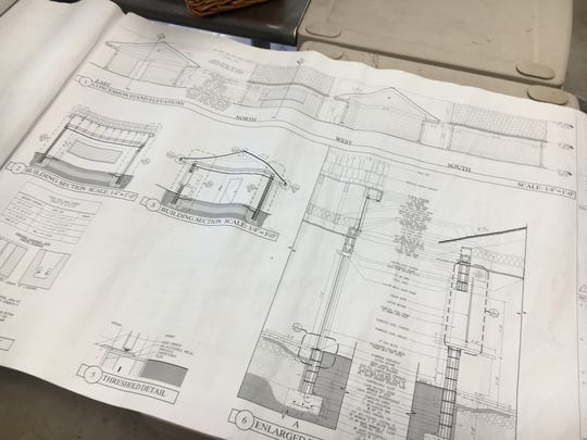 Blueprints for the new snack shack, for which the Chatham booster club donated equipment.