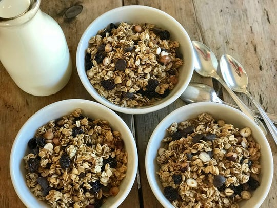 The delicious combination of hazelnut oil and maple syrup with a hint of cinnamon makes Chunky Chocolate, Cherry & Hazelnut Breakfast Cereal the perfect fall granola.