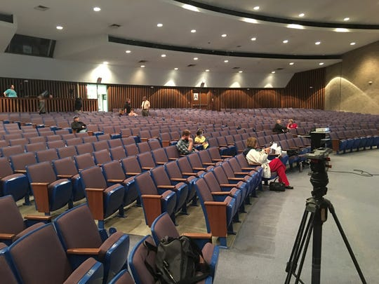 Sparse attendance at a town hall forum last Thursday at Central High School auditorium on the topic of school finances. This was the scene about five minutes before the start of the session.