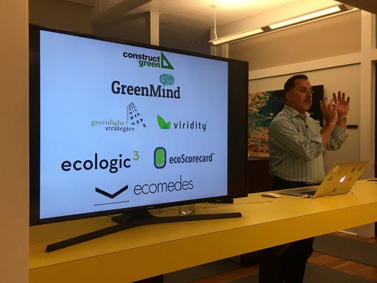 Paul Shahriari of Cape Coral leads Ecomedes, a data management platform for purchasing sustainable materials for construction projects. He spoke in July at The Rocket Lounge in downtown Fort Myers.