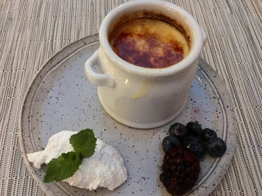 The crème brûlée ($8) is served in an individual sized