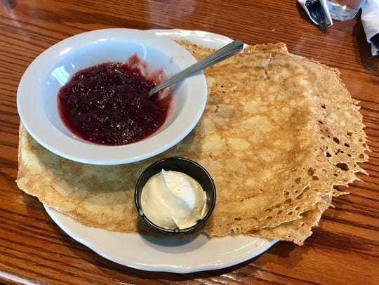 Swedish pancakes with lingonberries at Original Pancake