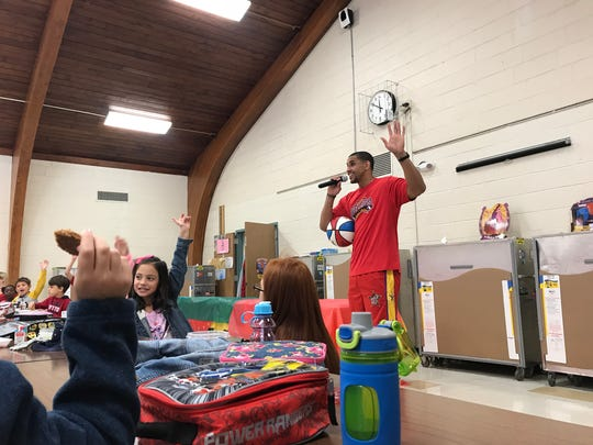 Harlem Wizard basketball player David Paul visited the Robert Erskine Elementary School in Ringwood on Oct. 18, 2017 to promote an upcoming school district fundraiser.