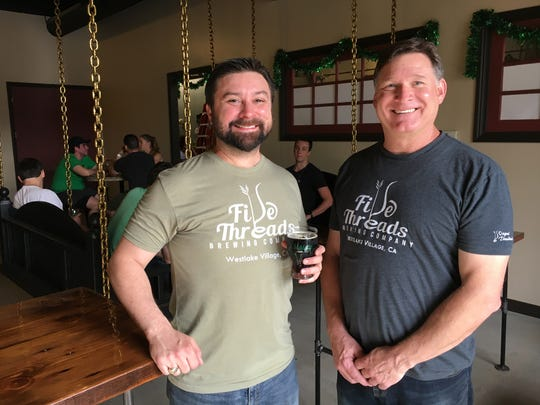 Five Threads Brewing Co. head brewer Tim Kazules, left, and cofounder Neil Shirley will mark the brewery's second anniversary Oct. 21 in Westlake Village.