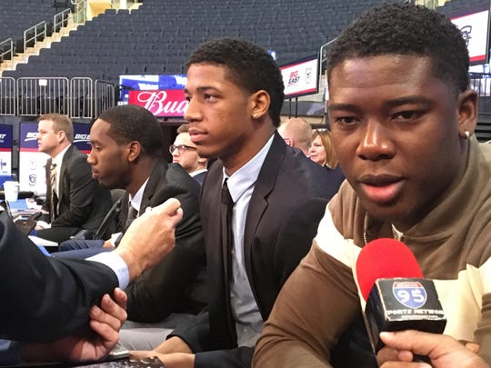 From left, Seton Hall's Khadeen Carrington, Desi Rodriguez and Angel Delgado speak to reporters at Big East basketball media day.