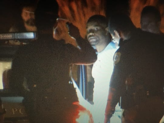 Radee L. Prince, 37, of Belvedere being taken into