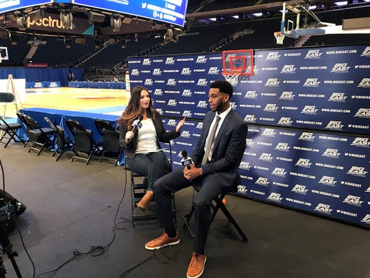 Trevon Bluiett conducts an interview during Big East