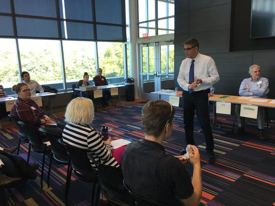 Mike Cervantes, director of the Inside Out Reentry Community, speaks during a parole simulation at the Kirkwood Regional Center on Wednesday.