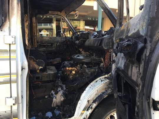 This photo shows the interior of a van that was destroyed in a fire Thursday morning on North Palm Canyon Drive in Palm Springs.