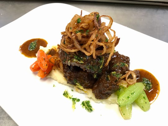 Braised oxtail with parsnip puree, gremolata, tourne