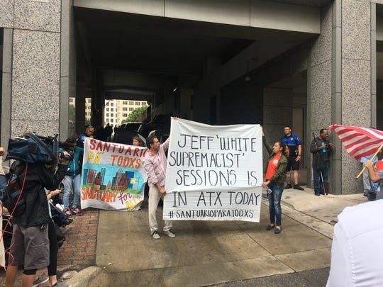 Protesters in Austin, Texas during a visit from U.S. Attorney General Jeff Sessions.