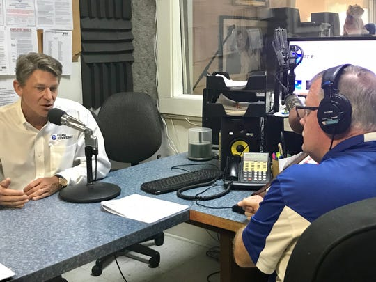 Republican gubernatorial candidate Randy Boyd speaks with WJJM radio host Jeff Haislip in Marshall County.