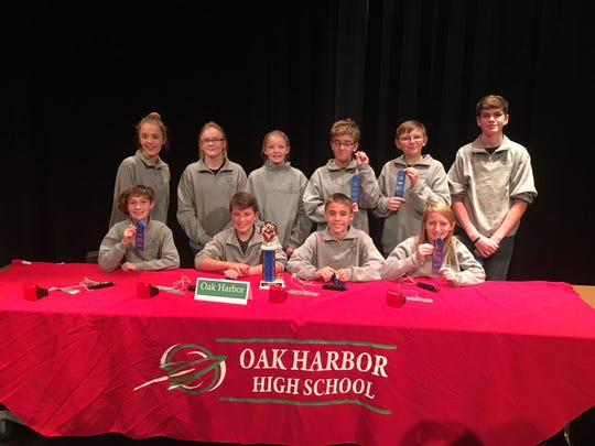Seventh-grade students on the team are, front row, Violet Warren, Keston Walleman, Hayden Buhro, and Colleen Warner; second row, Hayley Buhro, Jenna Buder, Emma Hand, Nathan Buderer, Connor Hand, and Lukas Gilbert.