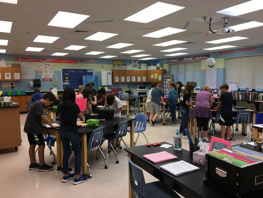 Students in Bea Schroeder's science class at Woodlawn