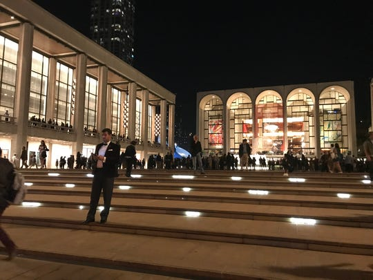Lincoln Center is a great place to a holiday stroll. At dusk, dressed-up people head to the theaters, looking festive.