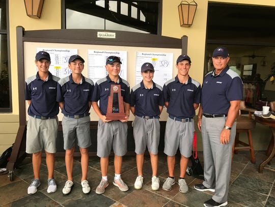 The Estero High School boys golf team finished second