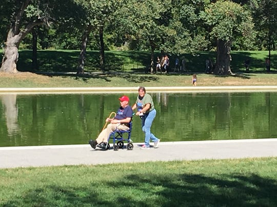 Korean War veteran Richard Dwyer is escorted around Washington, D.C., by his daughter Wendy Dwyer during the Sept. 23 Honor Flight.