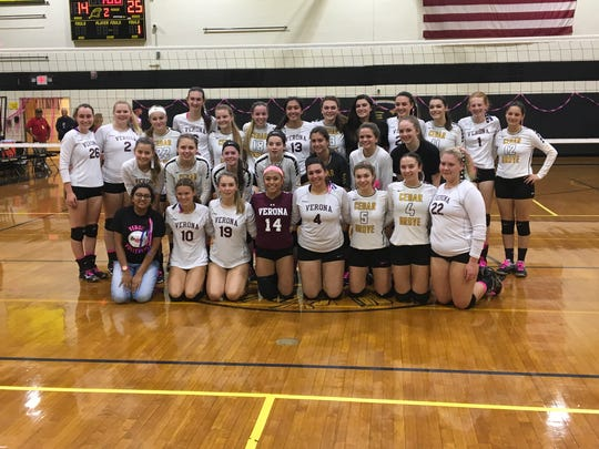 Members of the Verona and Cedar Grove volleyball teams