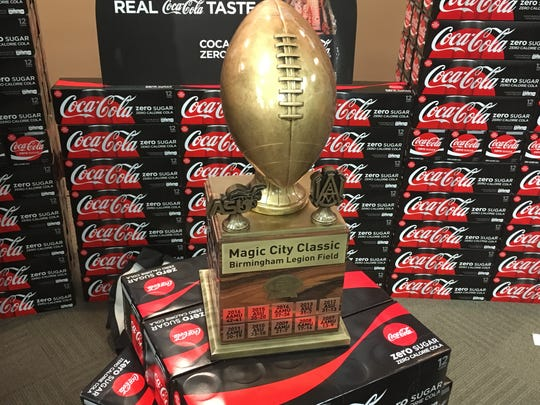 The new Magic City Classic trophy, which has the scores from the previous 75 contests between in the series.