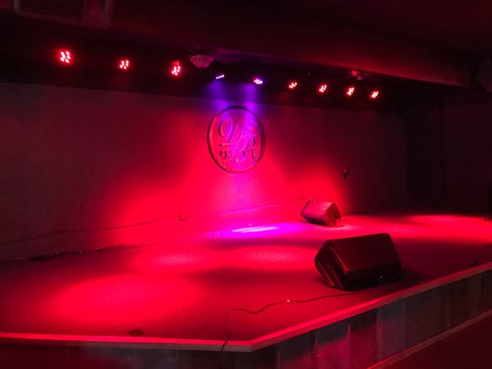 """Initials """"D"""" and """"R"""" from when the building was named """"Desert Rose"""" can be seen on the the Little River Club's current stage at 4205 South Bryant Boulevard, Oct. 25, 2017"""