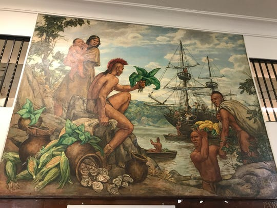 """""""Indians trading with the Half Moon"""" as it hangs in the Fort Lee Post Office. The mural and three others were painted by Henry Schakenberg and installed in 1941 as part of the New Deal."""