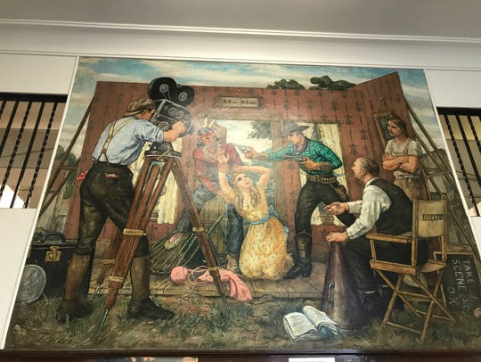 """""""Moving Pictures,"""" as it hangs in the Fort Lee Post Office. The mural and three others were painted by Henry Schnakenberg and installed in 1941 as part of the New Deal."""