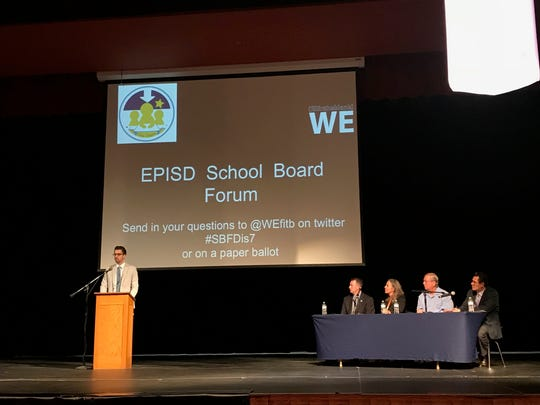 Daniel Call, a candidate for the EPISD District 7 seat, answers questions from trustees on Wednesday at Coronado High School. WE(fillintheblank), a student-run organization at Coronado, hosted a forum for the candidates.