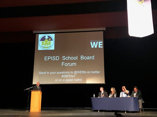 Michael Hicks, a candidate for the EPISD District 7 seat, answers questions from trustees on Wednesday at Coronado High School. WE(fillintheblank), a student-run organization at Coronado, hosted a forum for the candidates.