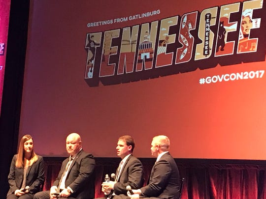 Panelists at the Governor's Conference on Economic and Community Development talk about the recent deal for garage-door maker Hormann to create 200 jobs in White County.