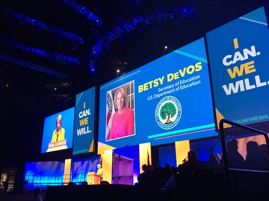 U.S. Secretary of Education Betsy DeVos addresses students at the National FFA Convention and Expo at Banker's Life Fieldhouse in downtown Indianapolis on Friday, Oct. 27, 2017,