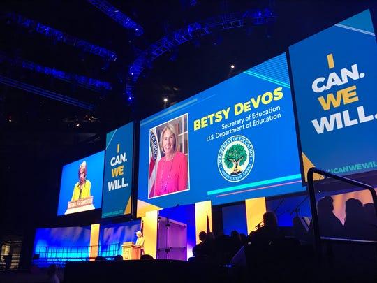 U.S. Secretary of Education Betsy DeVos addresses students