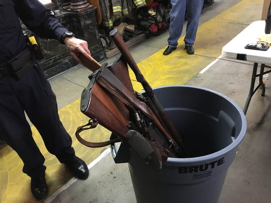 More than a dozen long guns were collected by York City Police Department during a gun buy back event at Goodwill Fire Company on Oct. 27. Anyone could bring a gun to the fire company and exchange, no questions asked, for a $50 gift card to a local sneaker and apparel store.