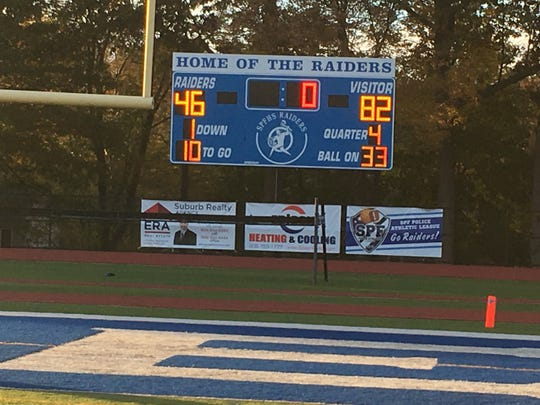 The scoreboard at Scotch Plains-Fanwood High School.
