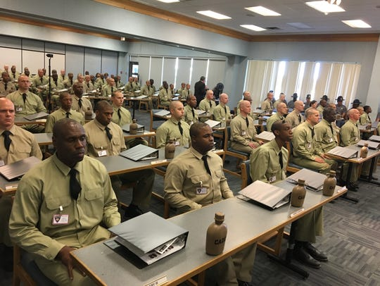 Cadets sit at attention in the opening day of the Mississippi