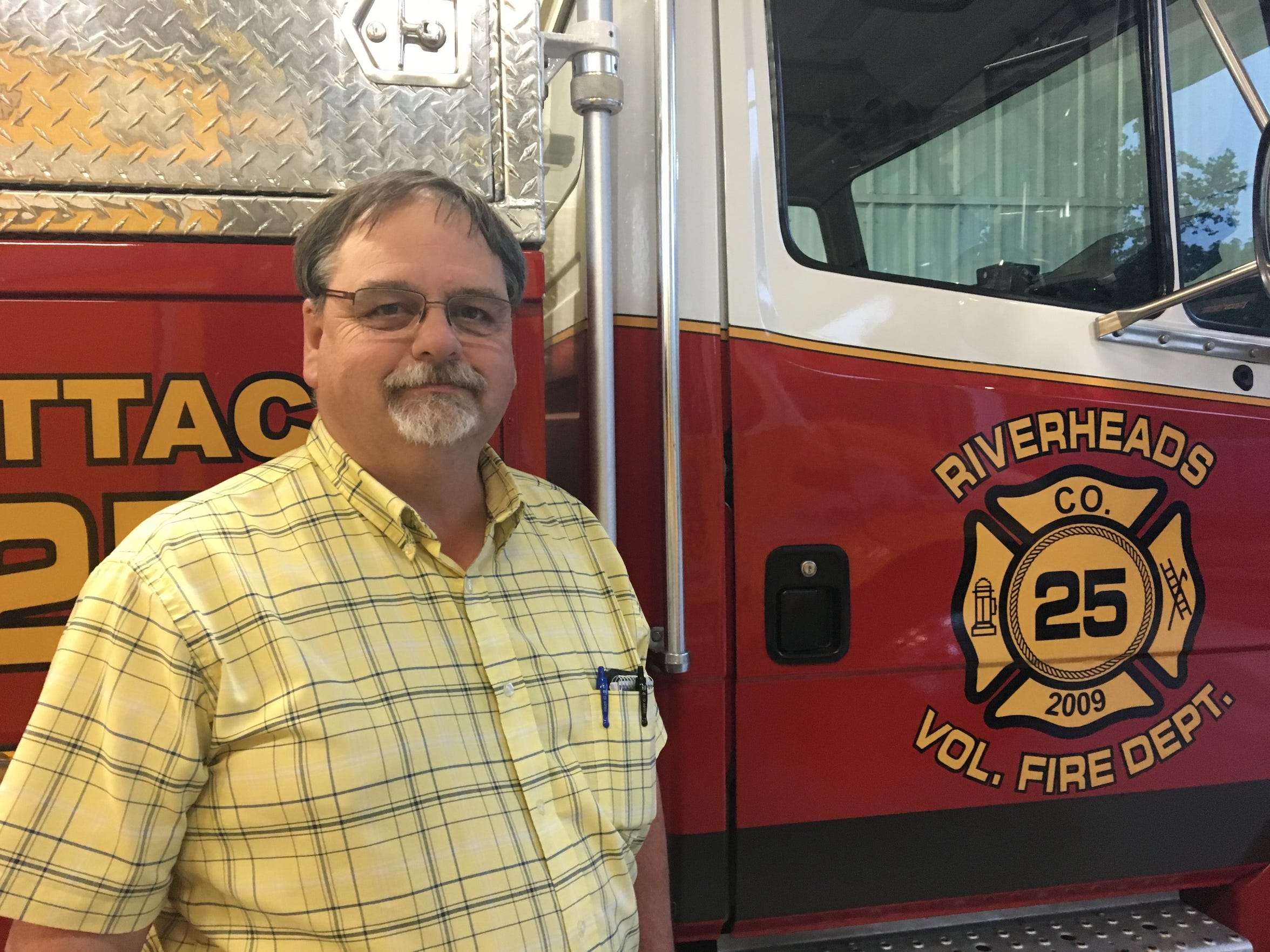 Riverheads Volunteer Fire Department Chief Barry Lotts poses for a photo at the station in Greenville, Virginia.
