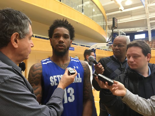 Seton Hall guard Myles Powell speaks with reporters.