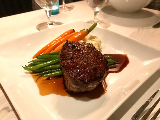Filet mignon in a green-peppercorn demi from Azure