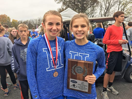 Highlands state medalists Maria Broering, left, and
