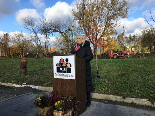 Rev. Faith Fowler of Cass Community Social Services addresses media at the groundbreaking of the second round of Tiny Houses on November 6, 2017.