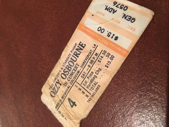 Mike Snowden's concert ticket stub from Ozzy Osbourne's