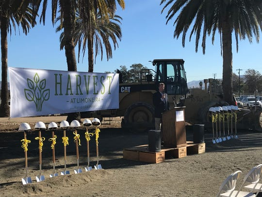 City officials and Limoneira executives celebrated the beginning of Harvest at Limoneira's construction at a ceremony in Santa Paula.