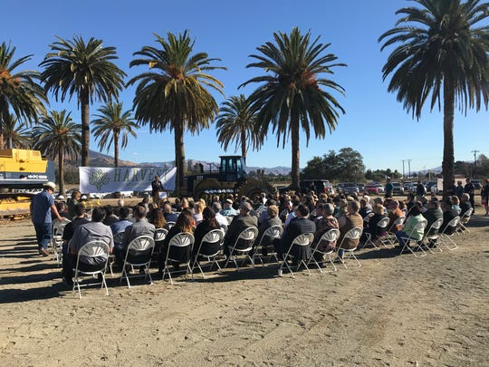 City officials and Limoneira executives celebrated the beginning of Harvest at Limoneira's construction at a Wednesday morning ceremony in Santa Paula.