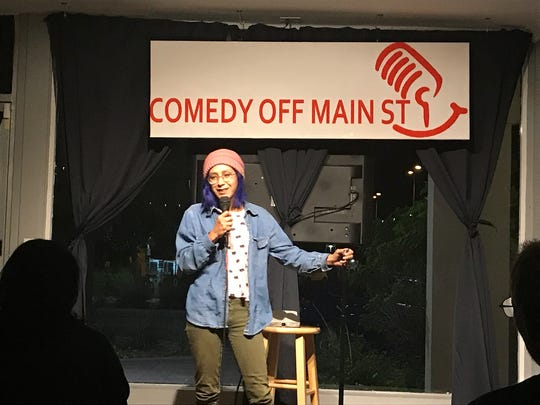 Comedian Alice Valpey tests some of her new material on the crowd during Open Mic Night at Comedy Off Main St. in Mesa in November 2017.